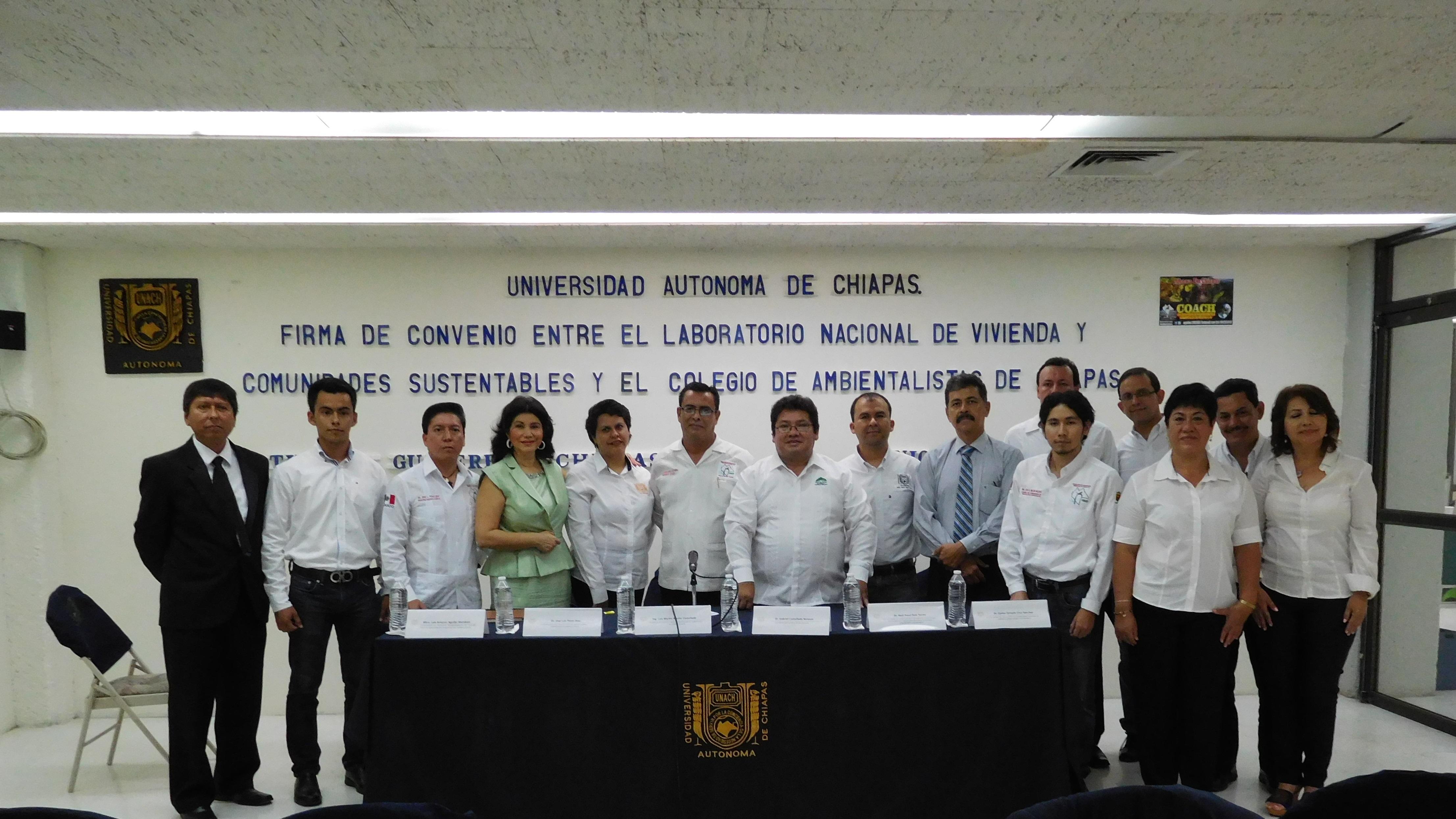 FIRMA DE CONVENIO ENTRE EL LABORATORIO NACIONAL DE VIVIENDA Y EL COLEGIO ÚNICO DE PROFESIONISTAS AMBIENTALES DE CHIAPAS (COACH)